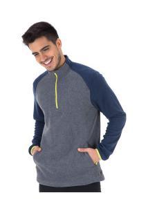 Blusa De Frio Fleece Nord Outdoor Bicolor - Masculina - Cinza Esc/Azul Esc