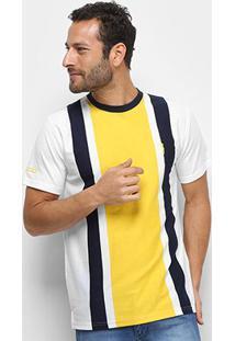Camiseta Aleatory Fio Tinto 3 Listras Masculina - Masculino-Marinho+Amarelo