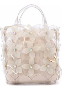 Zac Zac Posen Bolsa Tote Floral Bouquet Small North/South - Branco
