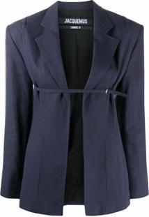 Jacquemus Blazer Com Cinto - Azul