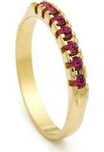 Meia Aliança Banhada Ouro 18 K Pedras Citrino - 1010005-Aro Horus Import Feminina - Feminino