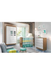 Dormitório Ariel Guarda Roupa 3 Portas/Cômoda Ariel/Berço Gabi Amadeirado Carolina Baby - Tricae