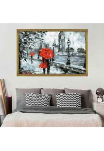 Quadro Love Decor Com Moldura London Red Dourado Mã©Dio - Multicolorido - Dafiti