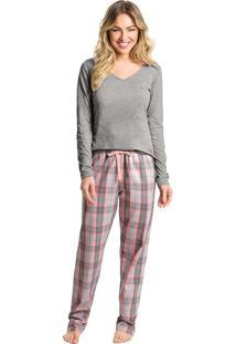 Pijama Longo Xadrez Feminino