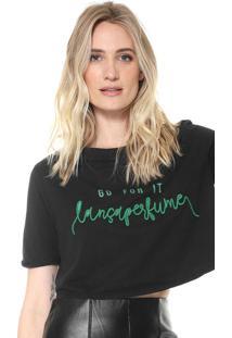 Camiseta Cropped Lança Perfume Bordada Preta