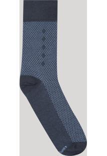 Meia Masculina Cano Alto Lupo Estampada Geométrica Azul Marinho