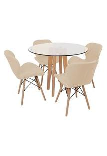 Conjunto Mesa De Jantar Em Vidro 90Cm Com Base Vértice + 4 Cadeiras Slim - Nude