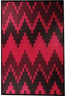 Tapete Sisllê Geométrico Viii Retangular Polipropileno (50X80) Preto E Vermelho