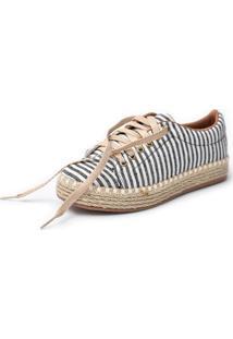 Tênis Scarpan Calçados Finos Em Tecido Listrado Marinho Com Branco