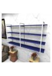 Estante Estilo Industrial Sala Aço Cor Branco 180X30X98Cm (C)X(L)X(A) Cor Mdf Azul Modelo Ind56Azsl