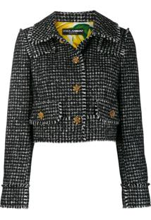 Dolce & Gabbana Blazer Spencer Com Padronagem Pied-De-Poule - Preto