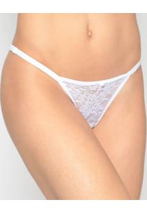 Calcinha String Em Renda- Branca- Eleganceelegance