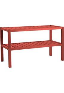 Aparador, Mesa De Centro E Mesa Lateral Ypê Em Madeira Maciça Vermelho - Urbe Móveis