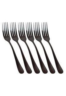 Conjunto De 6 Garfos De Sobremesa Elite Black
