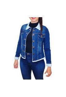 Jaqueta Jeans Feminina Maxi Forro De Pele Pelinho Grossa Alta Qualidade Azul Médio Pelinhos Brancos