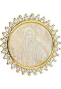 Pingente Aea Madrepérola Nossa Senhora Das Graças Folheado Ouro 18K - Feminino-Dourado
