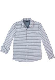 Camisa Masculina Slim Em Tecido De Algodão Estampada