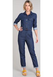 Macacão Jeans Feminino Com Bolsos E Cinto Manga Longa Azul Escuro