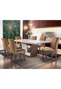 Conjunto De Mesa Sofia Com 6 Cadeiras Grécia-Rufato - Animalle Chocolate / Off White / Café