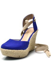 Sandália Espadrille Calzaph Plataforma Azul