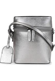 Bolsa Couro Shoestock Mini Basic Transversal Feminina - Feminino-Cinza