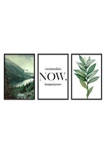 Quadro 60X120Cm Floresta Montanha Com Frase- Decorativo Moldura Preta
