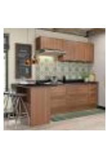 Cozinha Compacta Calábria Com Bancada, 2 Aéreos E Balcões Nogueira