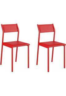 Kit 2 Cadeiras 1709 Vermelho Real - Carraro Móveis