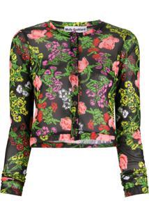 Molly Goddard Cardigan Com Padronagem Floral Malina - Preto