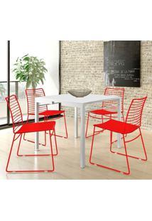 Mesa 1525 Branca Com 4 Cadeiras 1712 Color Uv Vermelho Carraro