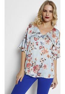 Blusa Floral Acetinada- Azul Claro & Coral- Simple Lsimple Life