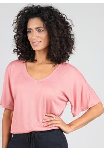 Blusa Feminina Ampla Manga Curta Decote V Rosê