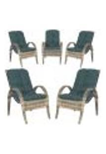 Cadeiras 5Un P/ Jardim Lazer Edicula Varanda Descanso Fibra E Tramas Napoli Plus Capuccino A09