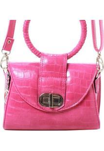 Bolsa Birô Mini Croco Metalizada Feminina - Feminino-Pink