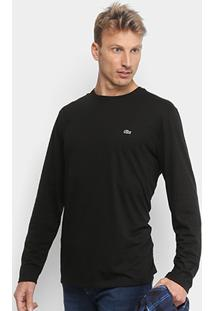 Camiseta Lacoste Manga Longa Masculina - Masculino-Preto