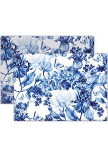 Kit 2Pçs Jogo Americano Mdecor Flores 40X28Cm Azul