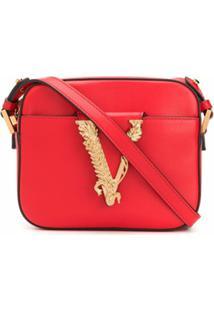 Versace Bolsa Tiracolo Com Placa V - Vermelho