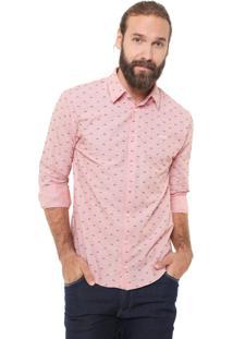 Camisa Colcci Slim Estampada Rosa