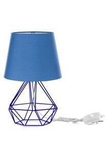 Abajur Diamante Dome Azul Com Aramado Azul