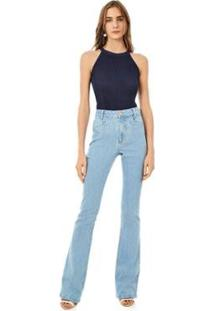 Calça Iódice Boot Cut Cós Alto Bolso Embutido Jeans Feminina - Feminino