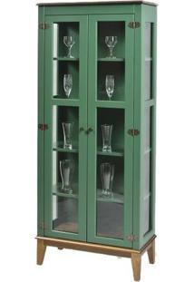Cristaleira Bia Verde 2 Portas Base Amendoa 180Cm - 58754 - Sun House
