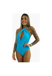 Maiô Anaju Frente Única Azul Turquesa