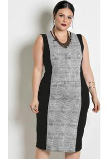 Vestido Em Moletinho Plus Size Xadrez