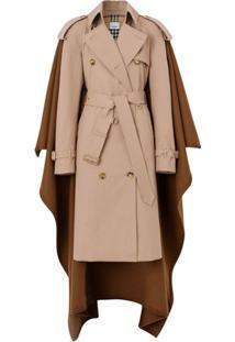 Burberry Trench Coat De Algodão - Neutro