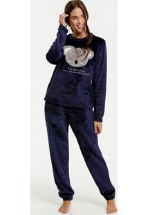 Pijama Feminino Pelúcia Bordado Coala Marisa