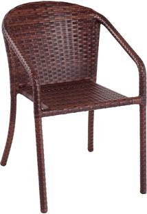 Cadeira De Jardim Alumínio Revestida Com Fibra Sintética C404.0001 – Alegro Móveis. - Castanho