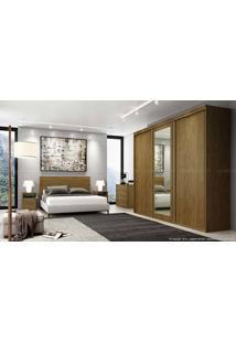 Quarto De Casal Completo Com Cabeceira, Guarda-Roupa Com Espelho, Cômoda E Criados-Mudos Inovatto 100% Mdf Álamo/Marrom Claro - Belmax Móveis