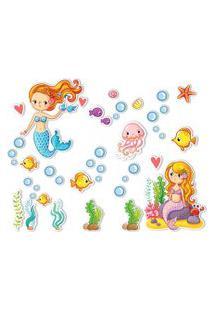 Adesivo De Parede Fundo Do Mar Sereias Para Menina
