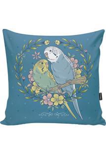 Capa De Almofada Birds- Azul Turquesa & Amarelo Claro