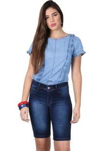 Bermuda Jeans Tradicional Feminina - Feminino-Azul Escuro